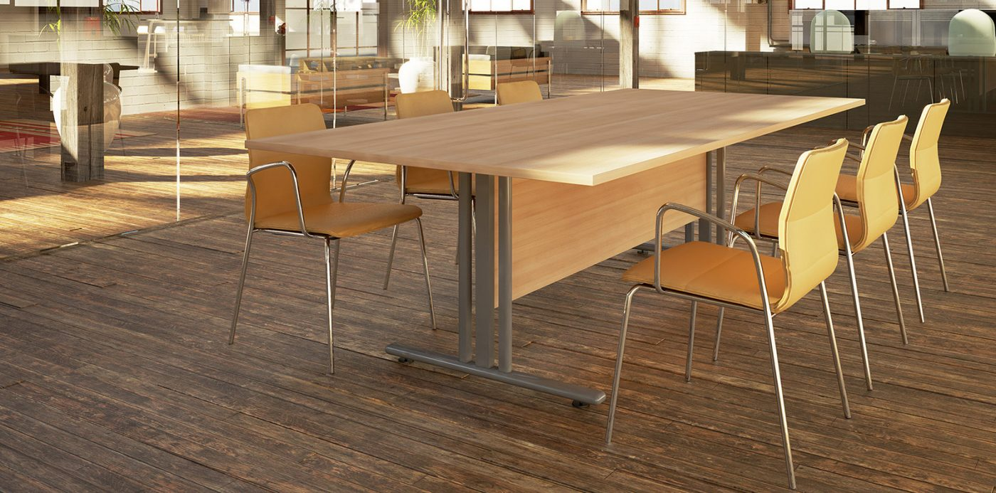 I frame table, boardroom, meeting table, oak, silver, MFC