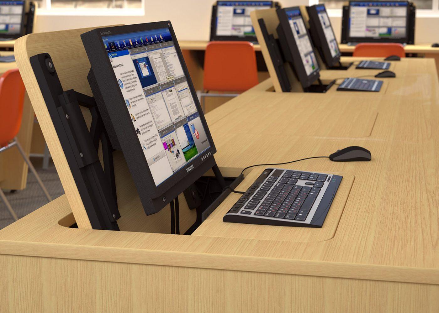 IT desk, school furniture, classroom furniture, built in monitor