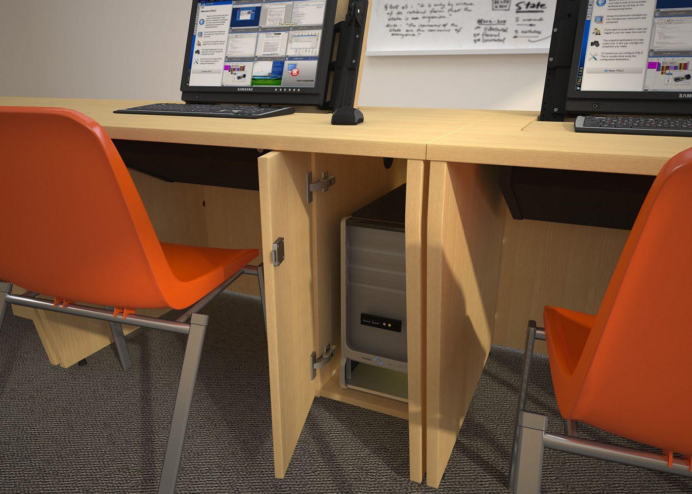IT desk, built in CPU, classroom furniture, school furniture