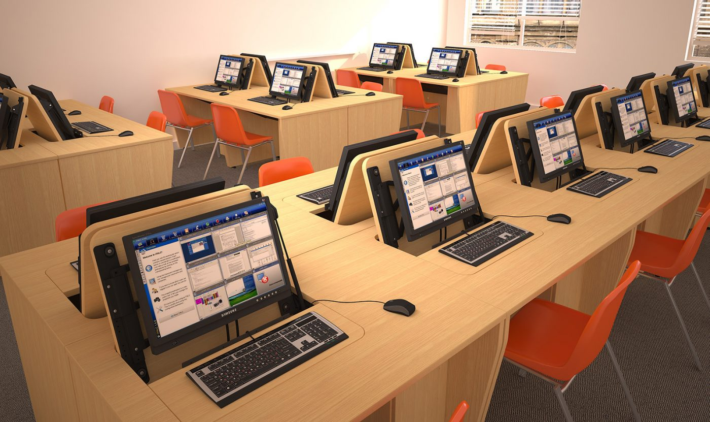 school furniture, IT desk, classroom furniture, bank of desks