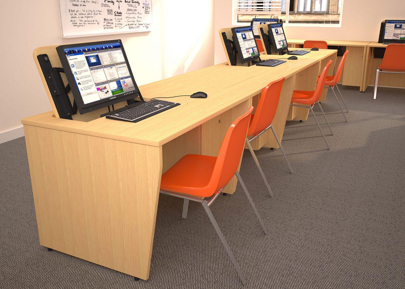 IT desk, school furniture, classroom furniture, bank of desks