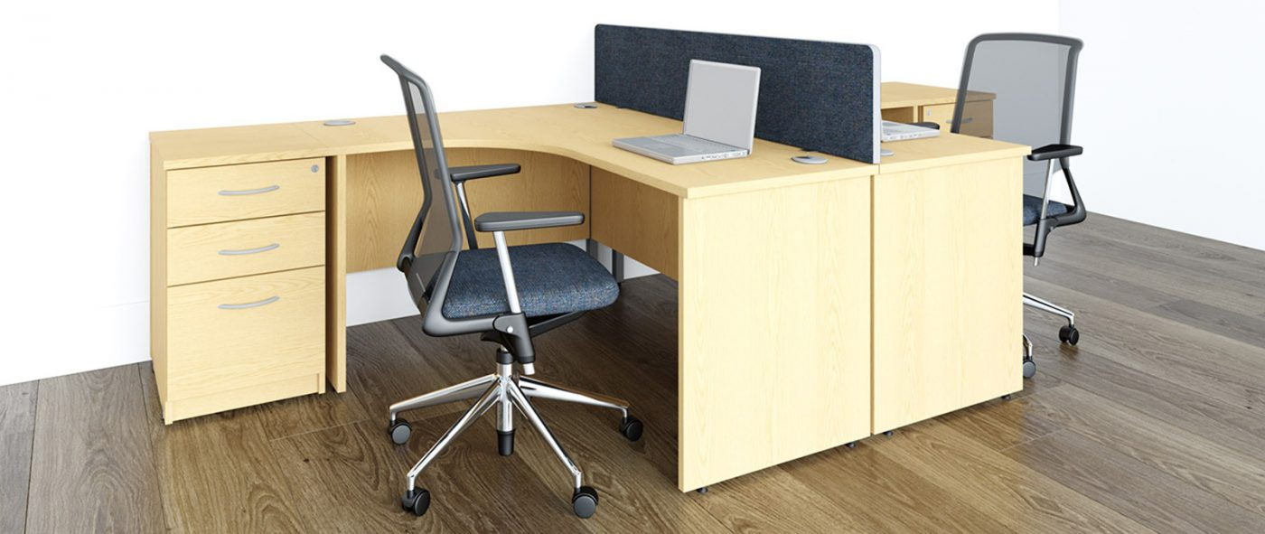j shape desk, radial desk, panel end, office desk, cheap office desk, affordable office furniture, oak desk, MFC, office storage, desktop screens