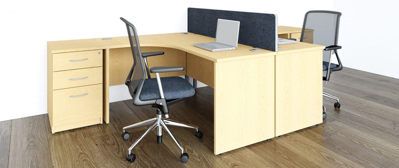 j shape desk, radial desk, panel end, office desk, cheap office desk, affordable office furniture, oak desk, MFC, office storage, desktop screens