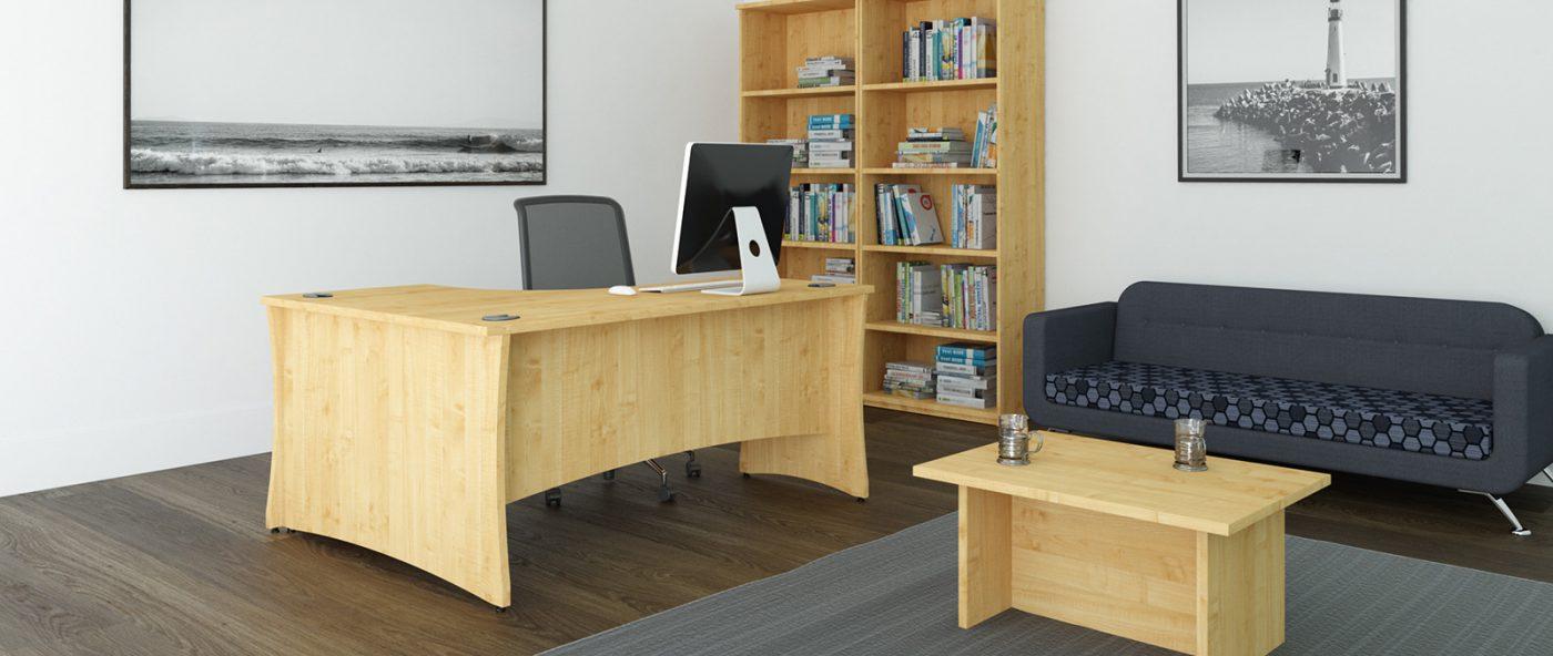 j shape desk, radial desk, panel end desk, slab end, MFC, wooden desk, modesty panel, privacy panel, coffee table, office interior, office furniture