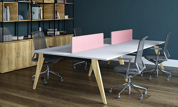 wooden leg, bench desk, oak leg, back-to-back, double bench, desktop screens, sliding tops