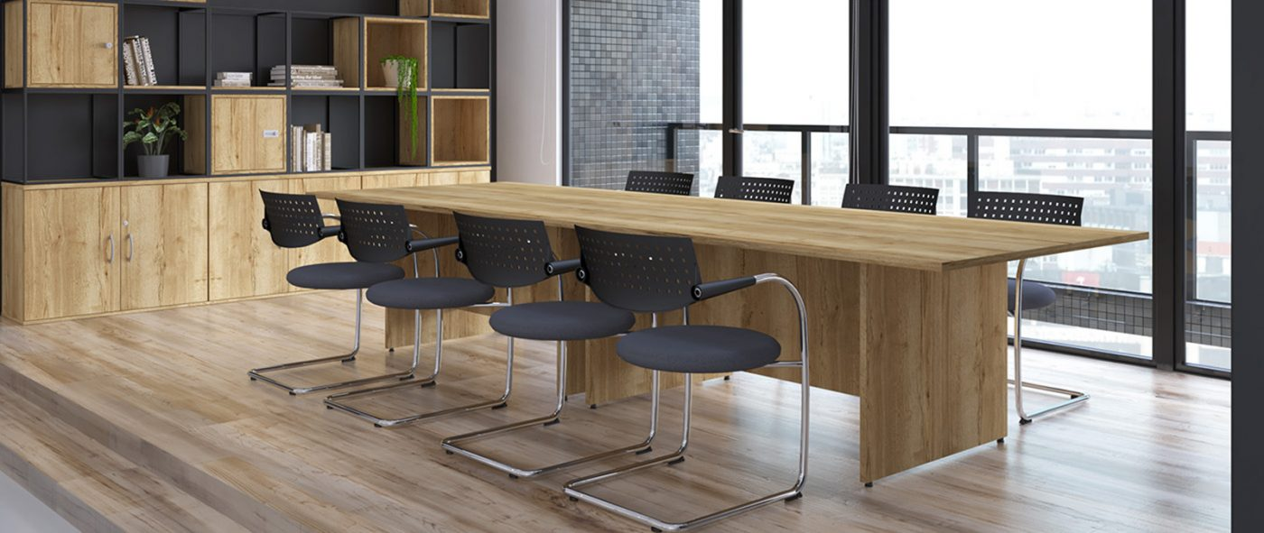 panel end table, boardroom table, meeting table, oak, MFC