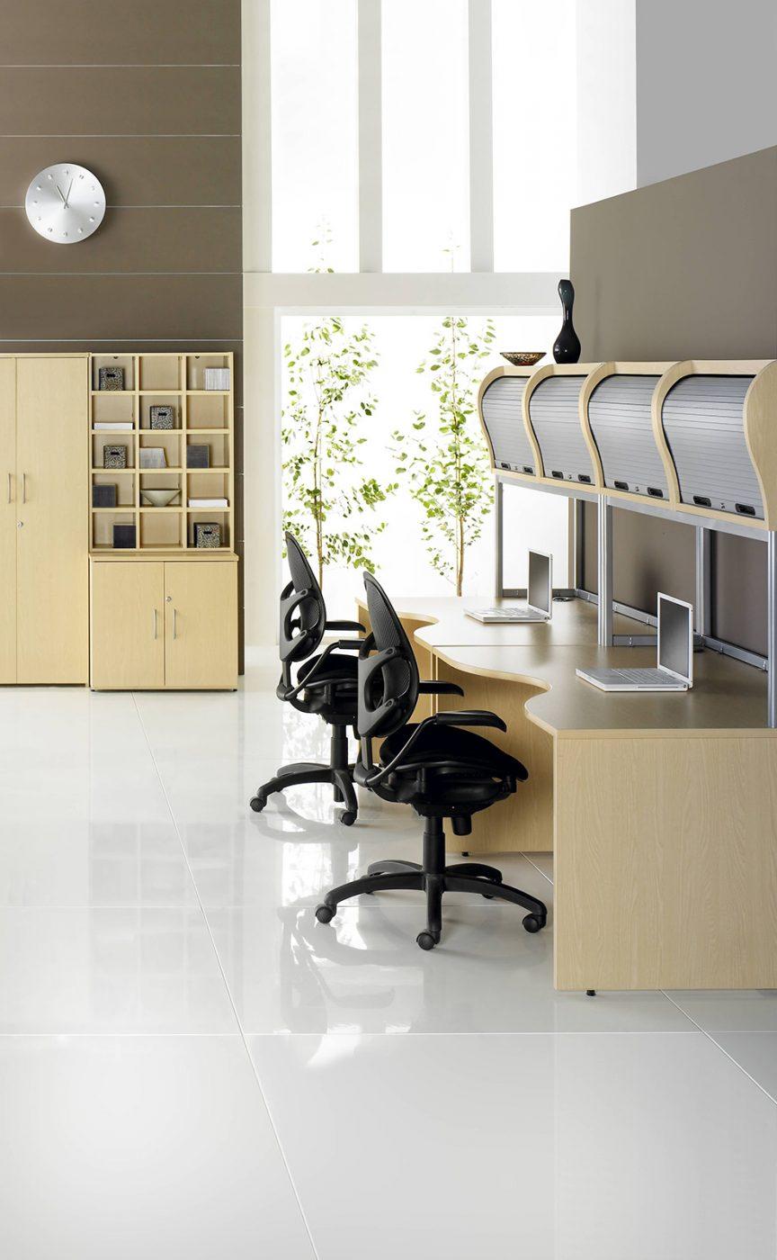 panel end desk, bank of desks, slab end, wooden desk, MFC, office furniture, office interior, overhead storage, tambour storage