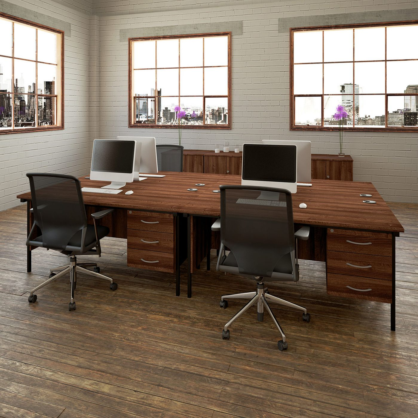 paolo desk, walnut desk, MFC, teacher desk, basic desk, storage