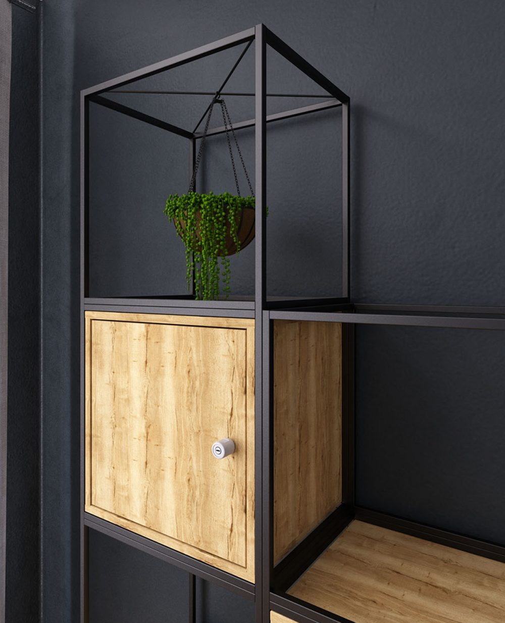 halifax oak, locker, storage, pull handle, plant hanger, black metalwork