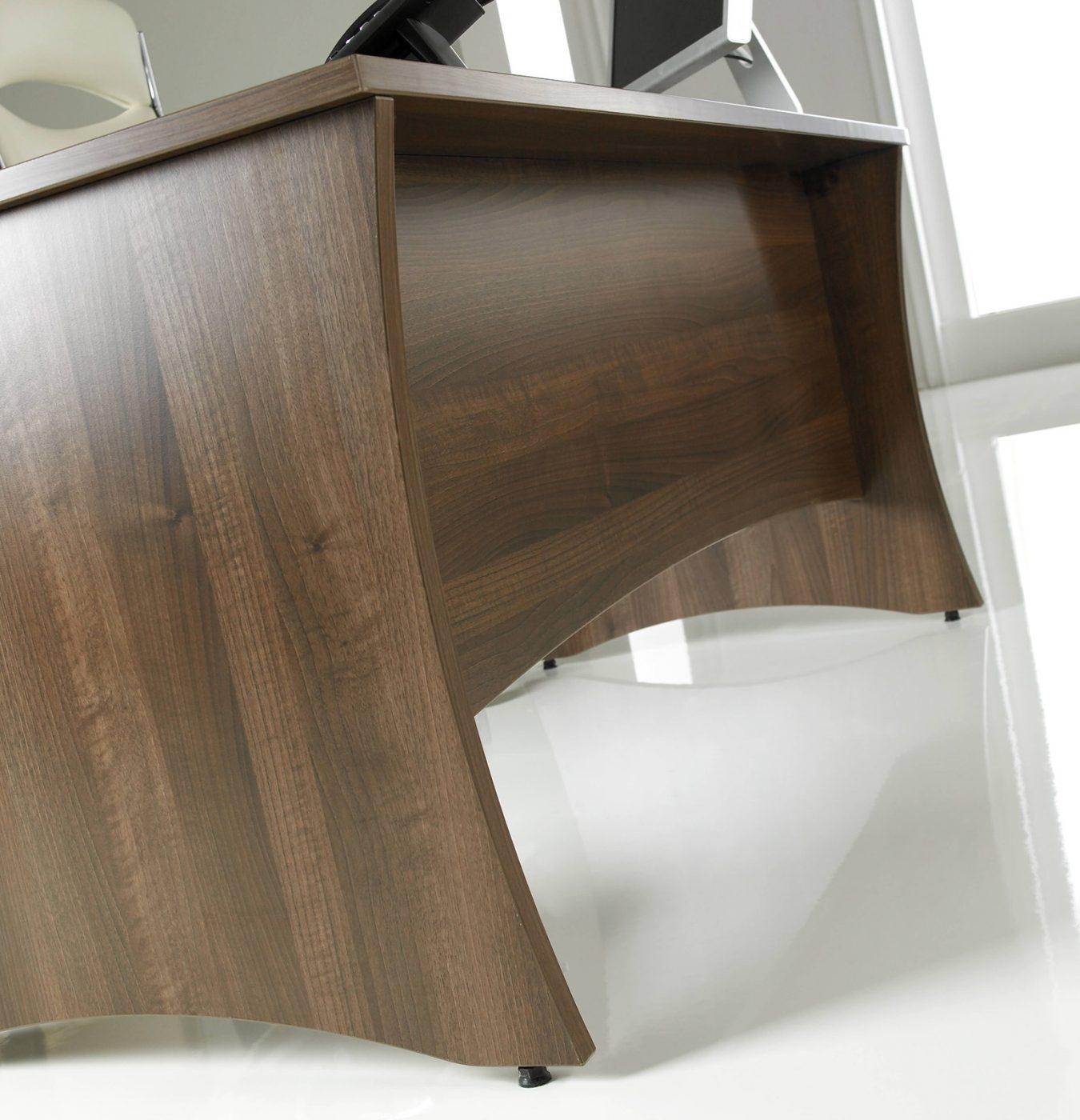 walnut desk, executive desk, panel end, modesty panel