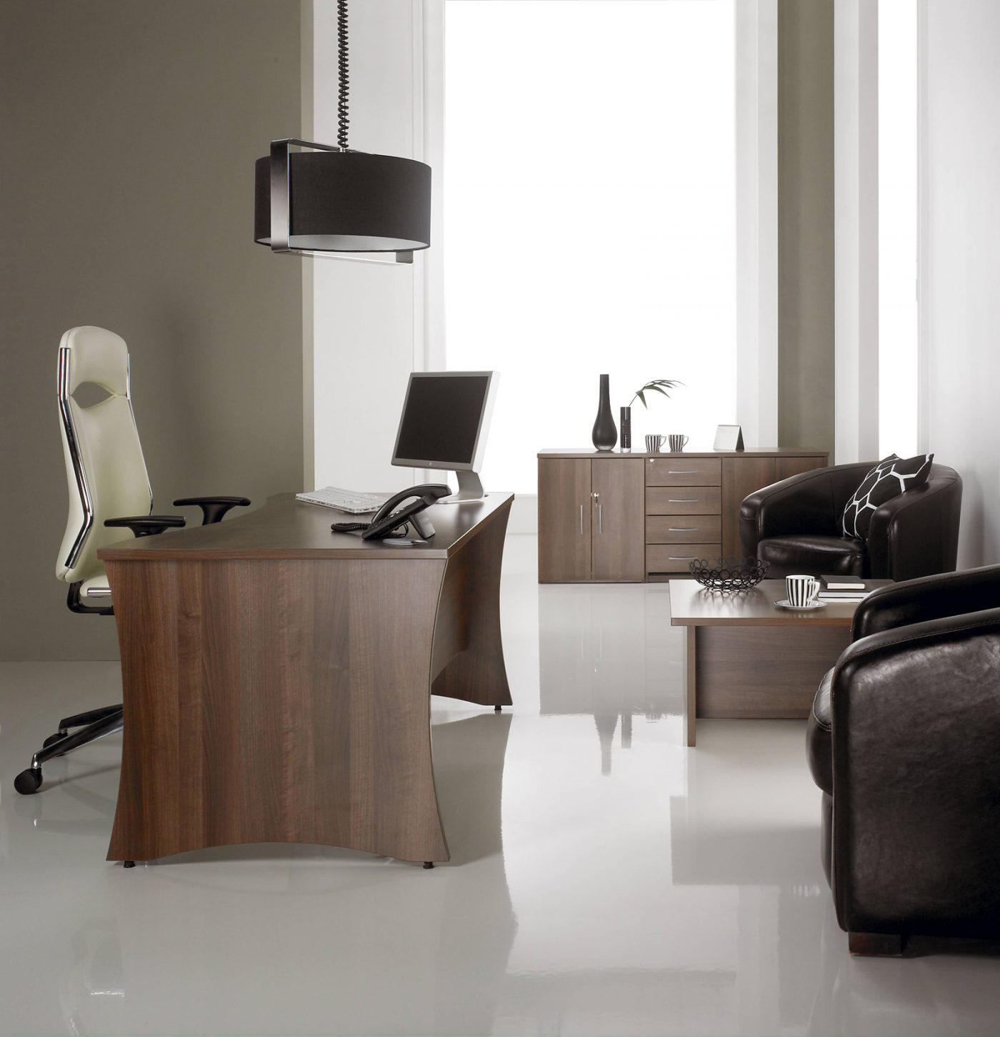roma lorenzo, executive desk, panel end, curved panel, walnut, office interior, office furniture, operator chair