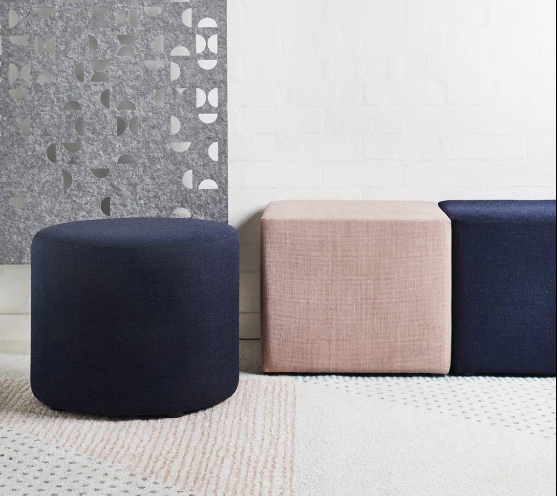 upholstered stools, fabric stools, office seating, reception seating, breakout seating, mobile seating