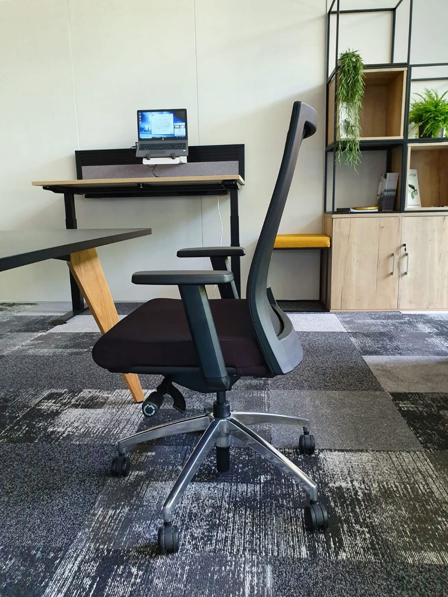mesh back office chair, black operator chair, chrome base, spider base, adjustable arms