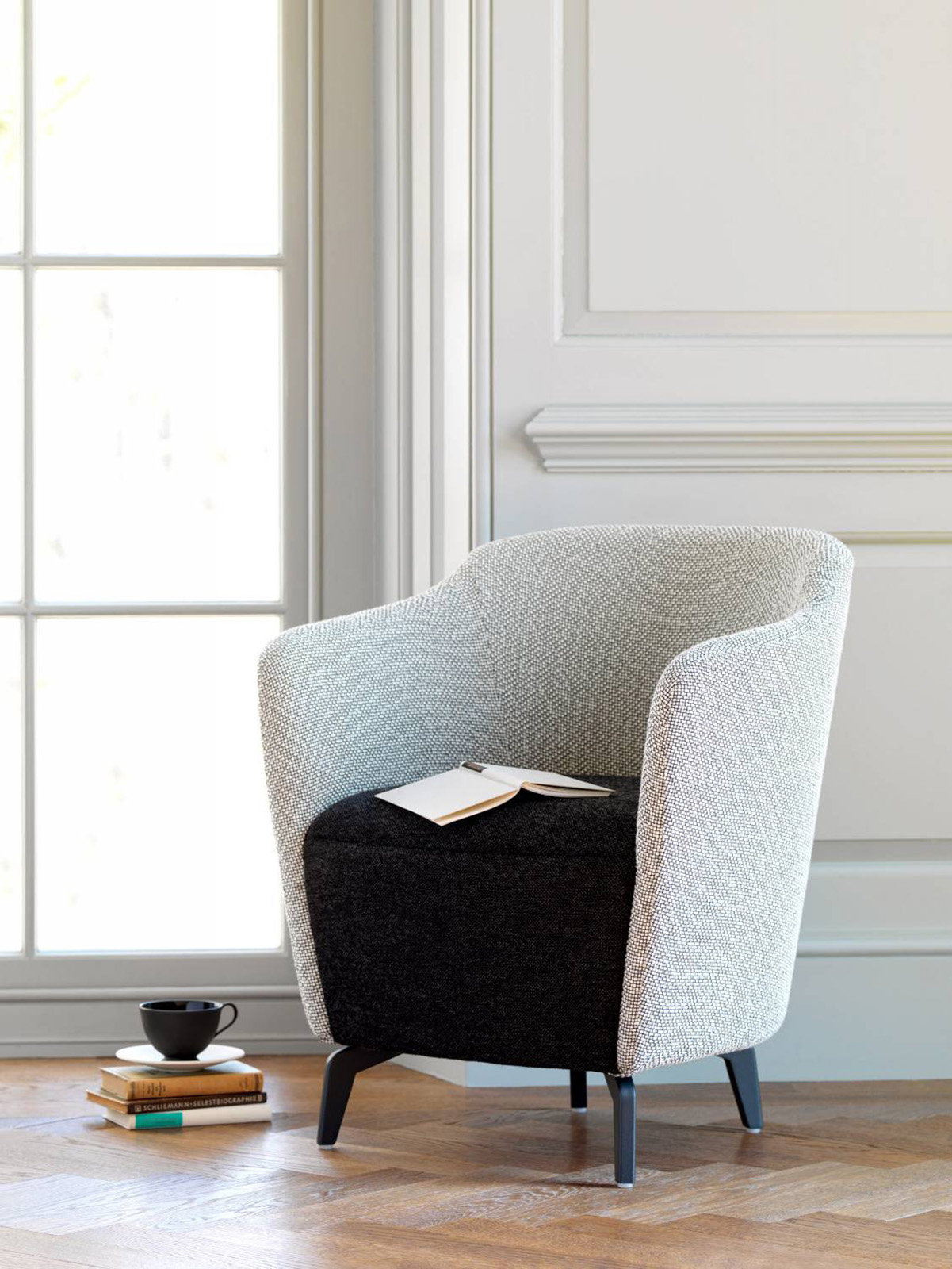 tub chair, grey armchair, office seating, breakout seating, reception seating