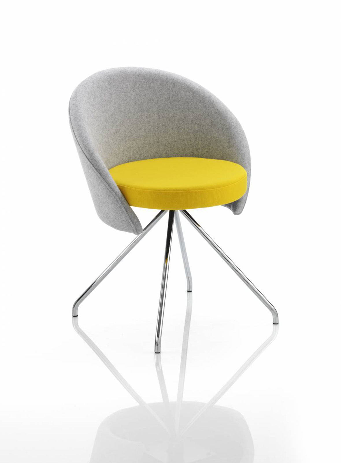 swivel chair, yellow swivel chair, upholstered swivel chair, chrome spider base