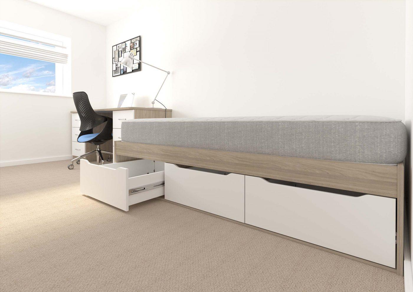 student accommodation furniture, bedroom furniture, residential furniture, under bed storage