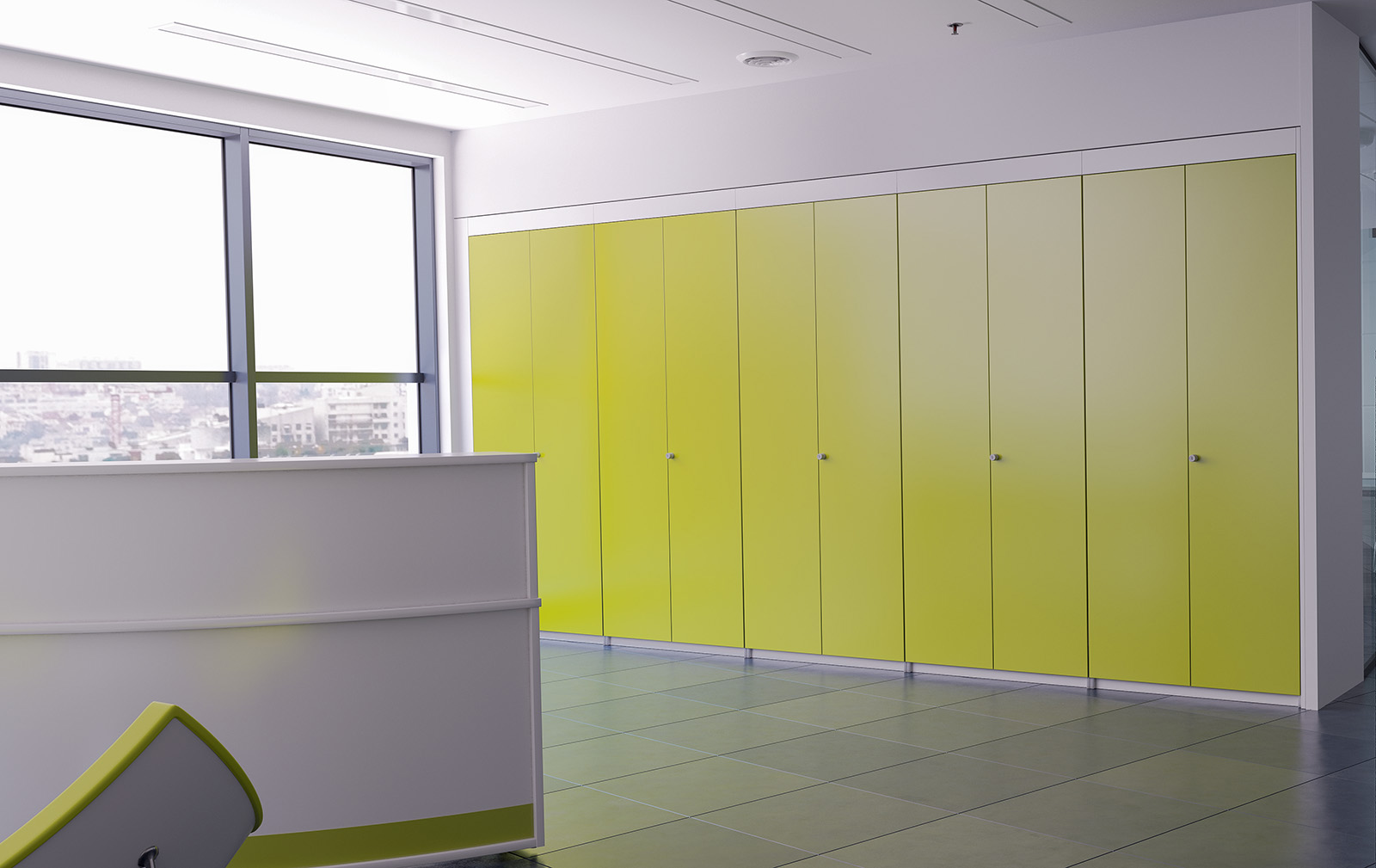 storage wall, green storage, integrated storage, fitted cupboards