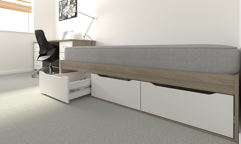 residential furniture, student accommodation, bedroom furniture, underbed storage, roll-out drawers
