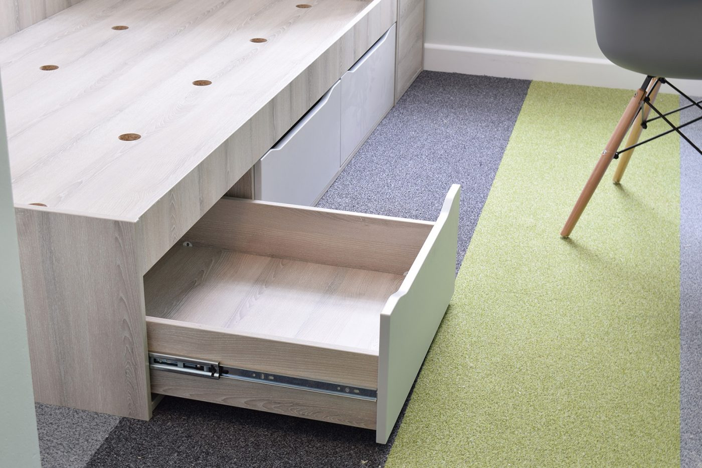 bedroom furniture, student accommodation furniture, under bed drawers, roll out drawers
