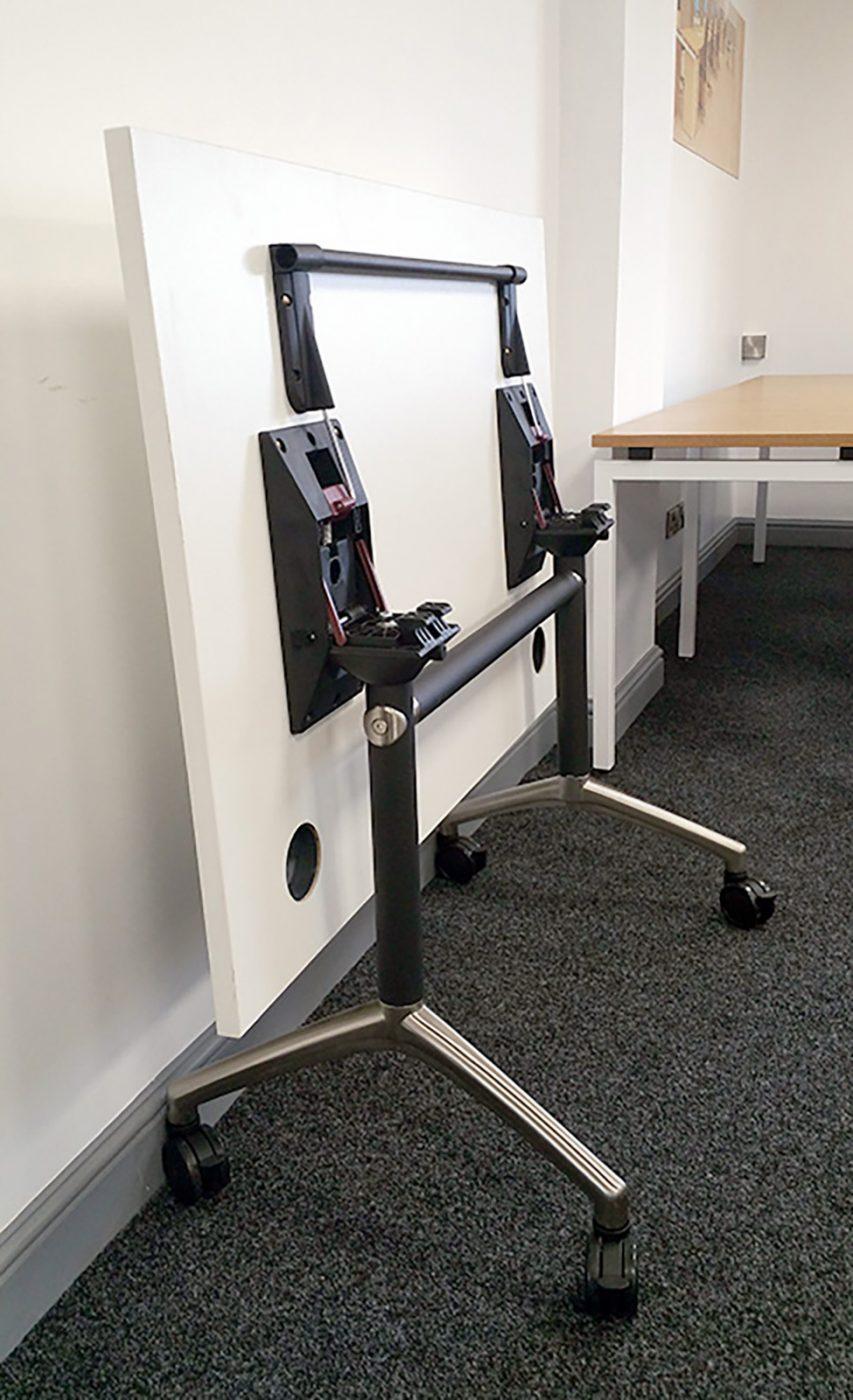 flip top table, tilt table, white table, office furniture