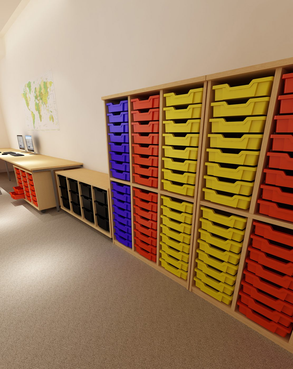 tray units, school trays, classroom trays, coloured trays