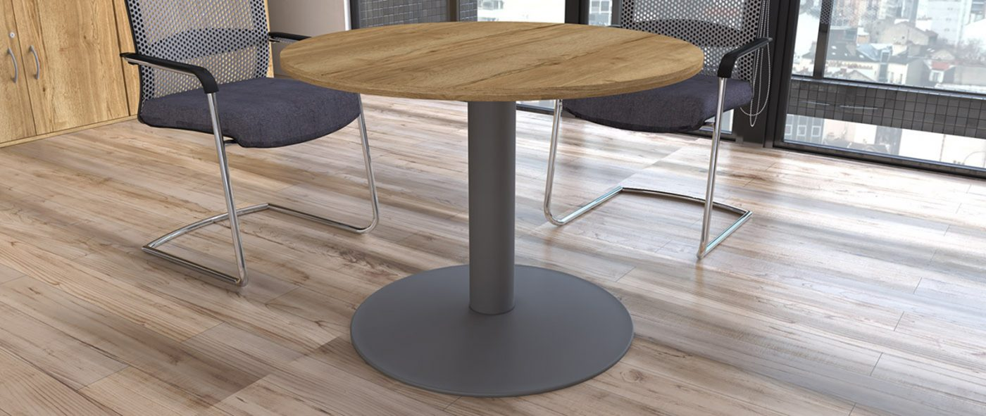 trumpet base table, circular table, halifax oak, silver base, meeting table