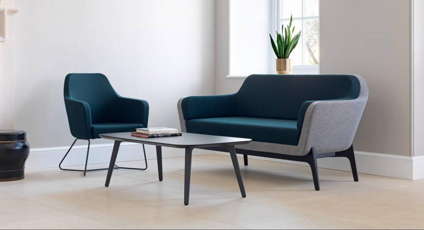 office seating, reception sofa, breakout sofa, sofa, armchair, low sofa, green sofa