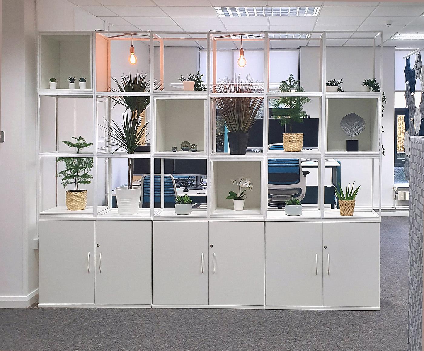 grid, grid storage, box storage, storage cubes, modular storage, white MFC, white office furniture, office storage, home office storage, office storage ideas, cube storage