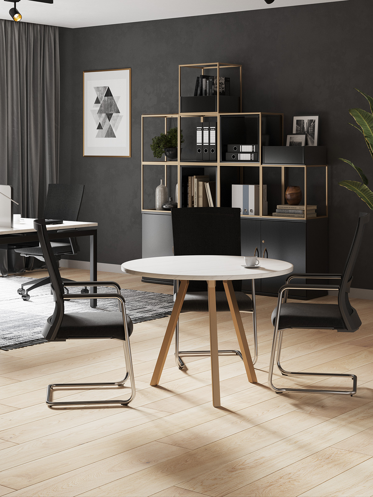 Grid Cube Storage Metal Modern Office Furniture Gold Bronze Marble Desk Circular Table Round