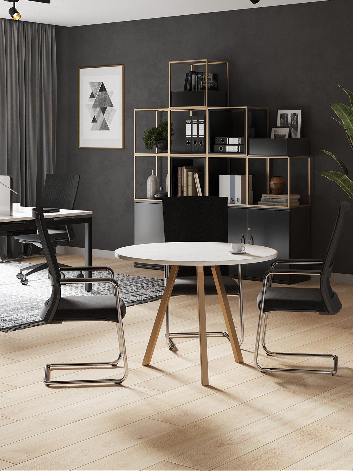 Grid Cube Storage Metal Modern Office Furniture Gold Bronze Marble Desk Circular Table Round